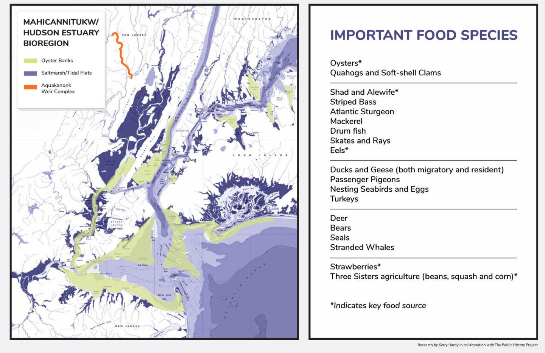 Mahicannituckw/Hudson Estuary Bioregion Important Food Species map and list